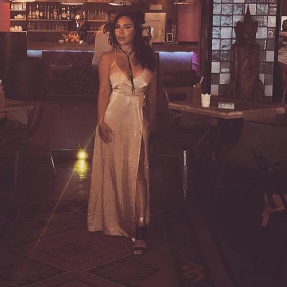 Naked wardrobe gold maxi dress